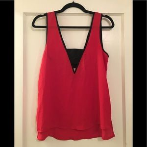 NWOT Red & Black Cutout High Low Top
